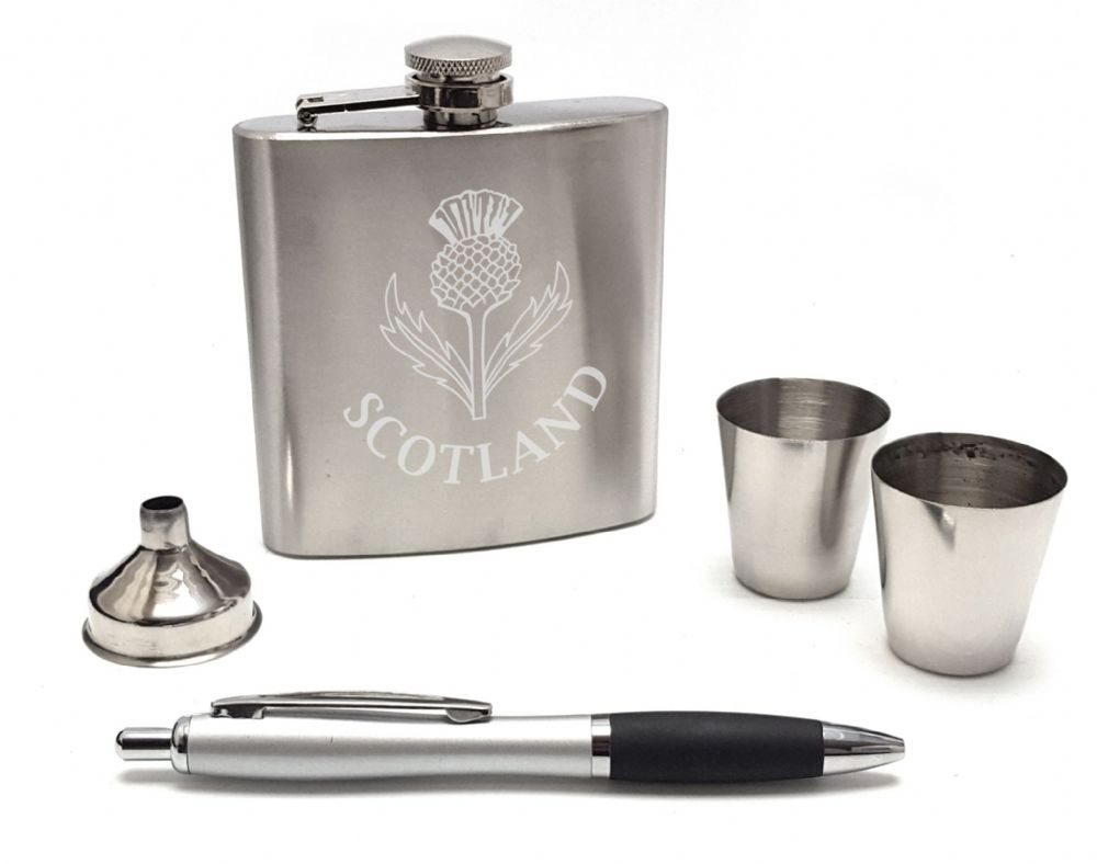 Scottish Thistle  Hip Flask Gift Box Set  2 Cups & Pen Mens Scotland  Engravable